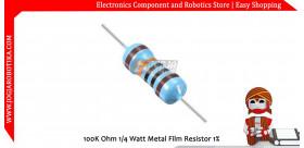 100K Ohm 1/4 Watt Metal Film Resistor 1%