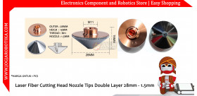 Laser Fiber Cutting Head Nozzle Tips Double Layer 28mm - 1.5mm