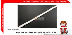 5MM Heat Shrinkable Tubing / Selang Bakar - Putih