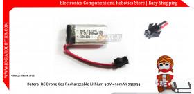 Baterai RC Drone Cas Rechargeable Lithium 3.7V 450mAh 752035 SM-2P Connector