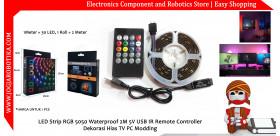 LED Strip RGB 5050 Waterproof 2M 5V USB IR Remote Controller Dekorasi Hias TV PC Modding