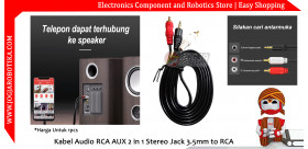Kabel Audio RCA AUX 2 in 1 Stereo Jack 3.5mm to RCA