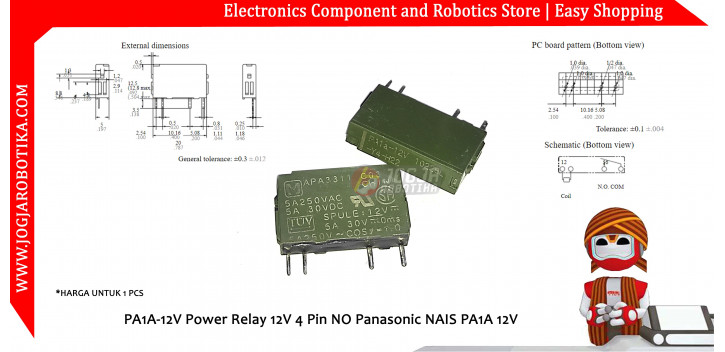 PA1A-12V Power Relay 12V 4 Pin NO Panasonic NAIS PA1A 12V