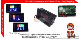 Dual Display Digital Voltmeter Battery Indicator Level Progress Bar 12V 24V 36V 48V 60V