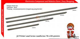 Besi Ulir CNC 3D Printer Lead Screw LeadScrew T8-2-D8 400mm