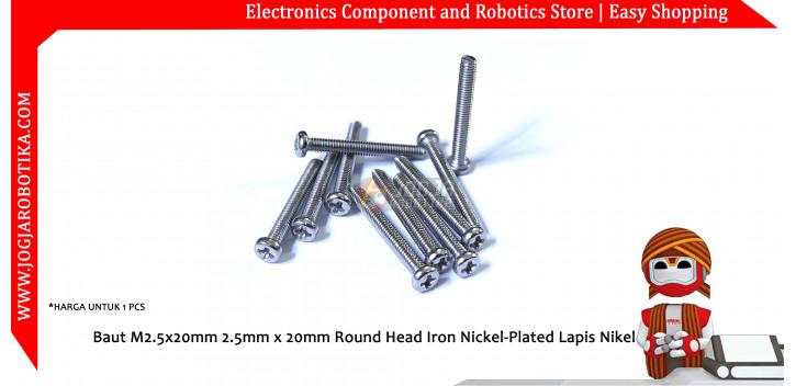 Baut M2.5x20mm 2.5mm x 20mm Round Head Iron Nickel-Plated Lapis Nikel