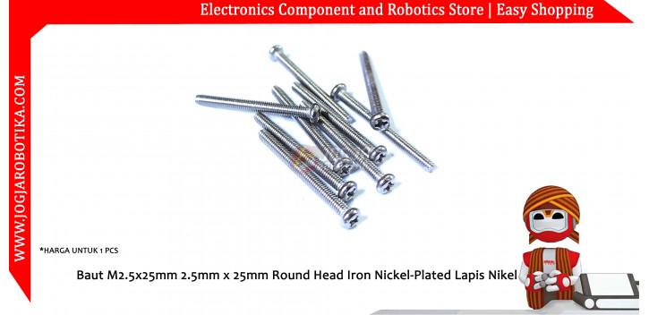 Baut M2.5x25mm 2.5mm x 25mm Round Head Iron Nickel-Plated Lapis Nikel
