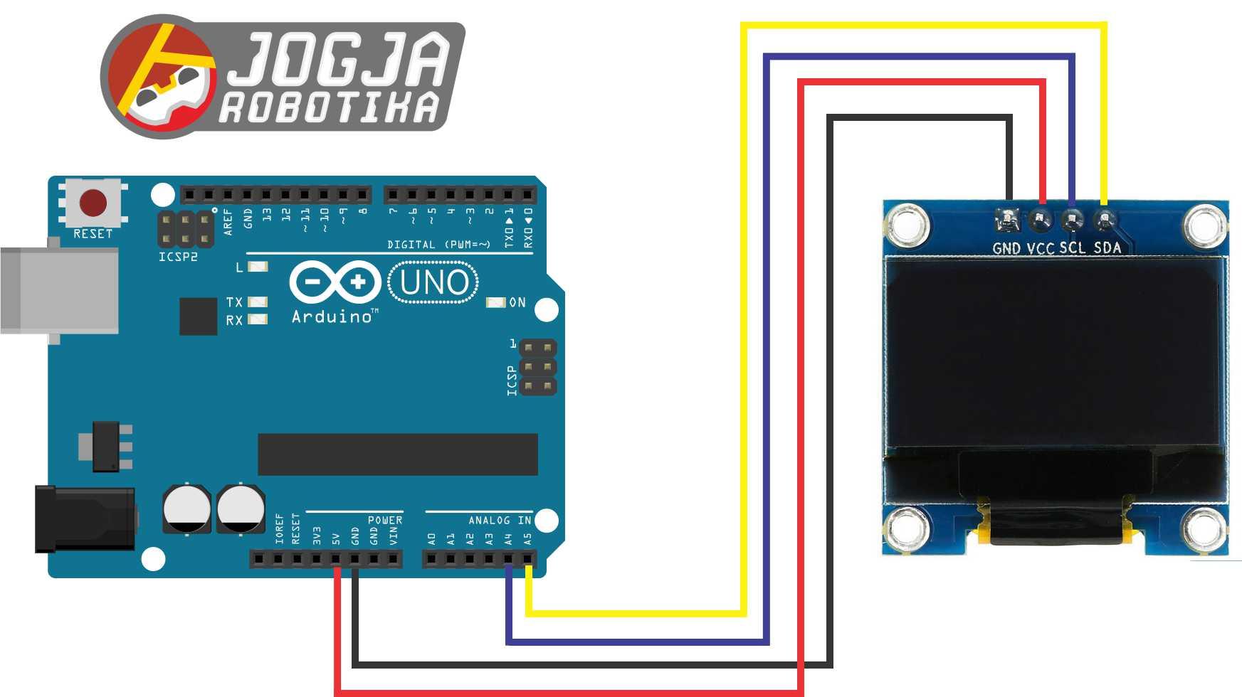 Skematik OLED dengan Arduino UNO R3