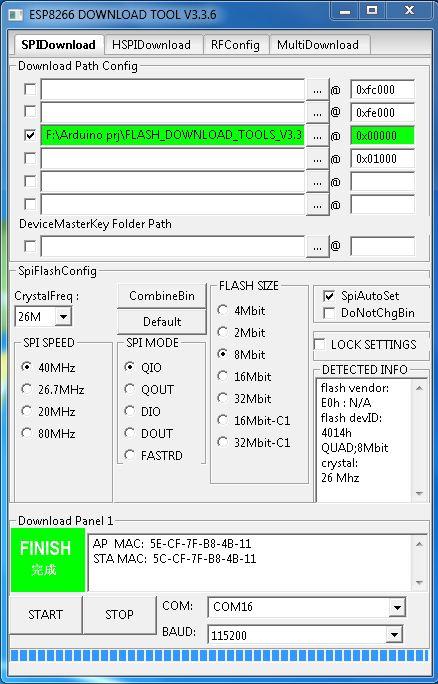 Flashing Firmware ESP8266 menggunakan ESP Flash Download